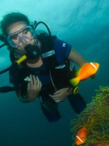 Club member diving